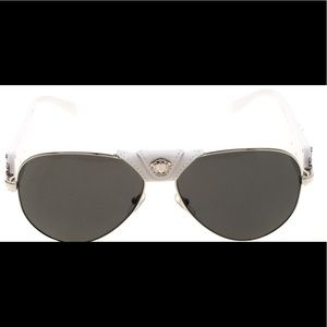 Versace White/Black 2150-Q Aviator Sunglasses
